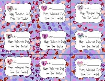 Jeweled Alphabetic Valentines