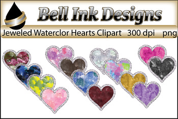 Jeweled Watercolor Heart Clipart