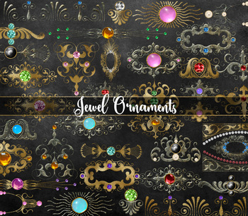 Jewelled Ornament Clipart, Fantasy graphics PNG Embellishments