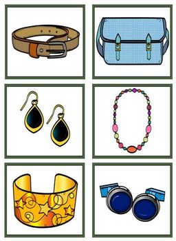 Jewelry and Accessories File Folder and Flashcards