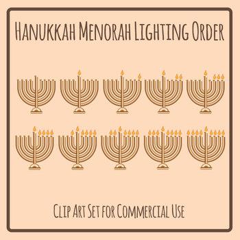 Jewish Hanukkah Menorah Lighting Order Clip Art Set for Commercial Use