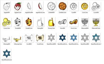 Jewish Holiday -Hanukkah and Rosh Hoshana 24 Piece Clip-Art Set! 12 BW/12 Color!