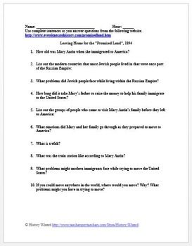 Jewish Immigration to America Primary Source Worksheet 1894