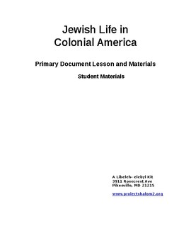 Jewish Life in Colonial America - Student Materials