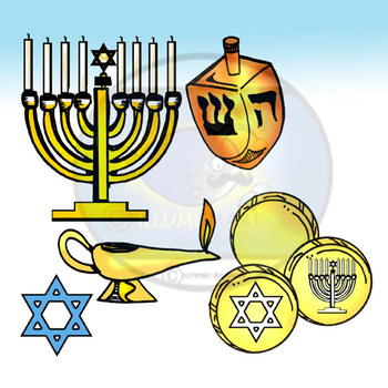 Jewish People and Holiday Objects Bundle-46 Piece Clip-Art BW/Color-FREEBIE