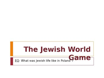 "Jewish World ""Map"" Game"