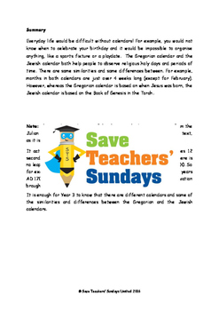 Jewish calendar Lesson plan, Text and Worksheets