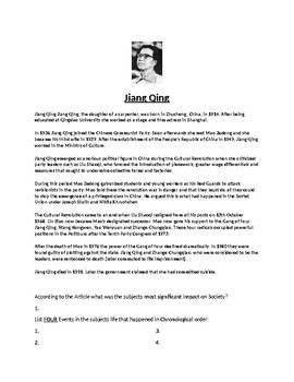 Jiang Qing Biography Article and Assignment Worksheet