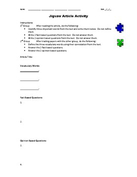 Jigsaw Activity: Research Article