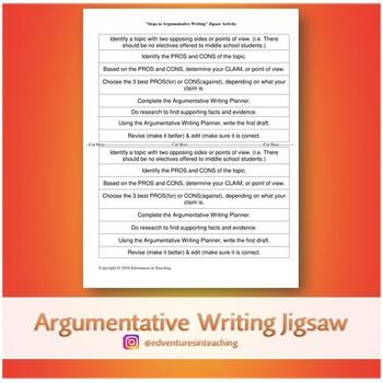 Jigsaw Activity: Steps to Argumentative Writing