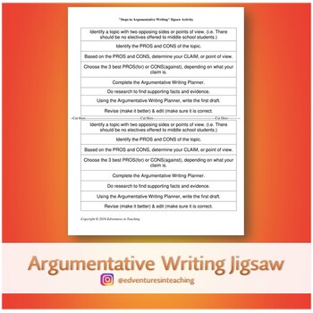 Jigsaw Activity: Steps to Argumentative Writing