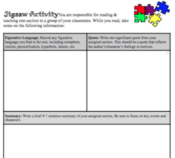 Jigsaw Activity for ANY Literary Text