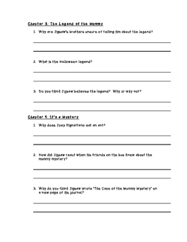 Jigsaw Jones Mummy Mystery Comprehension Questions (by chapter)
