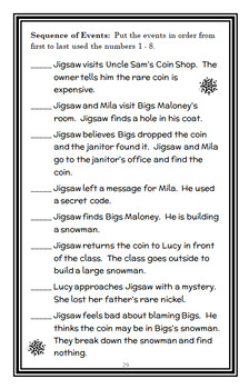 Jigsaw Jones: The Case of the Christmas Snowman (James Preller) Novel Study