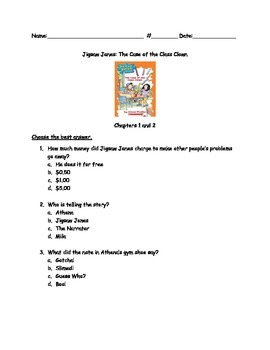 Jigsaw Jones: The Case of the Class Clown comprehension questions