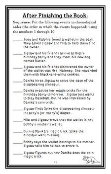 Jigsaw Jones: The Case of the Disappearing Dinosaur (Preller) Novel Study