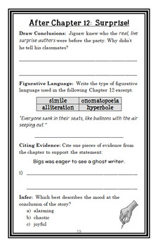 Jigsaw Jones: The Case of the Ghostwriter (Preller) Novel Study / Comprehension