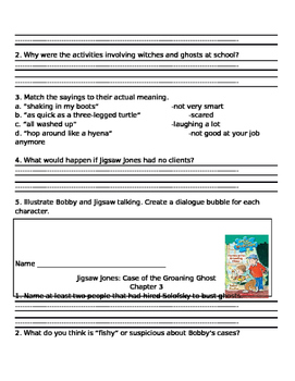 Jigsaw Jones The Case of the Groaning Ghost comprehension questions
