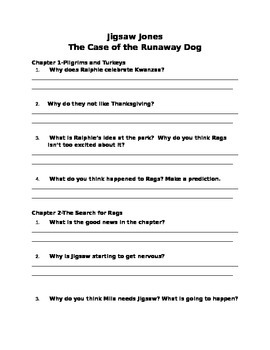 Jigsaw Jones: The Case of the Runaway Dog--Comprehension Questions