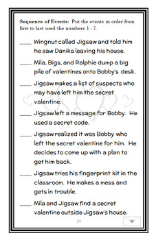Jigsaw Jones: The Case of the Secret Valentine (James Preller) Novel Study