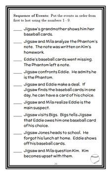 Jigsaw Jones: The Case of the Stolen Baseball Cards (James Preller) Novel Study