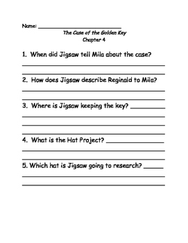 Jigsaw Jones and the Case of the Golden Key comprehension questions