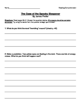 Jigsaw Jones and the Case of the Spooky Sleepover - Comp + Vocabulary Questions