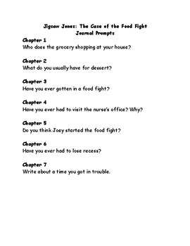 Jigsaw Jones and the case of the Food Fight comprehension questions