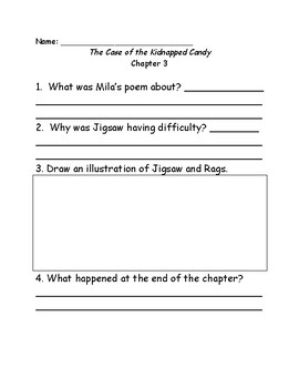 Jigsaw Jones and the case of the Kidnapped Candy comprehension questions