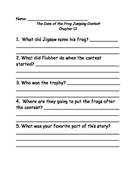 Jigsaw Jones and the case of the frog jumping contest comprehension questions
