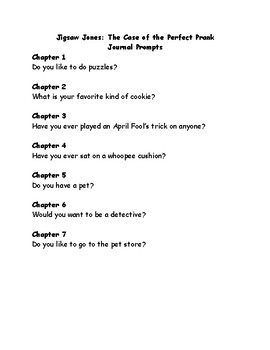 Jigsaw Jones & the Case of the Perfect Prank comprehension questions