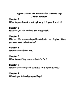 Jigsaw Jones & the Case of the Runaway Dog comprehension questions