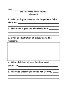Jigsaw Jones & the Case of the Secret Valentine comprehension questions