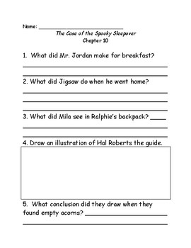 Jigsaw Jones & the Case of the Spooky Sleepover comprehension questions