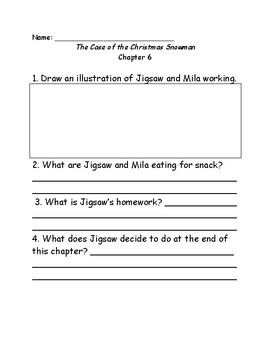 Jigsaw Jones & the Case of the christmas snowman comprehension questions