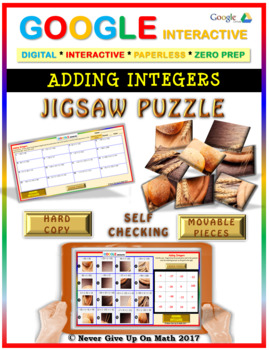 Jigsaw Puzzle:Adding Integers (Google Interactive & Hard Copy)