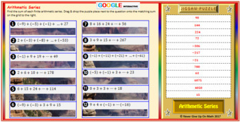 Jigsaw Puzzle: Arithmetic Series (Google Interactive & Hard Copy)