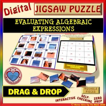 Jigsaw Puzzle: Evaluate Algebraic Expressions (Google Interactive & Hard Copy)