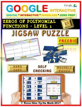 Jigsaw Puzzle FREEBIE: Zeros Polynomial Functions Level 1 (Google & Hard Copy)