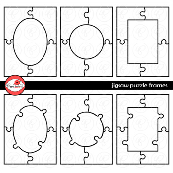 Jigsaw Puzzle Frames Template Clipart by Poppydreamz