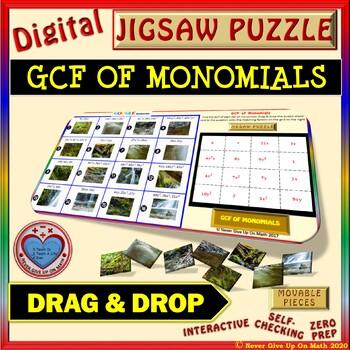 Jigsaw Puzzle: GCF OF MONOMIALS (Google Interactive & Copy)