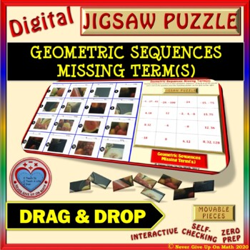 Jigsaw Puzzle: Geometric Sequence Missing Terms (Google Interactive & Hard Copy)