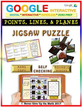 Jigsaw Puzzle: Identify Points, Lines, & Planes (Google Drive & Hard Copy)