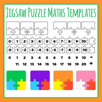 Jigsaw Puzzle Maths Templates- Addition and Subtraction Commercial Use Clip Art