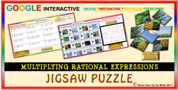 Jigsaw Puzzle: Multiply Rational Expressions (Google Interactive & Hard Copy)