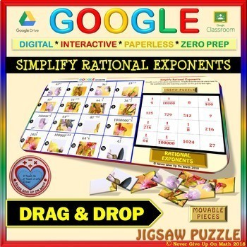 Jigsaw Puzzle: Simplify Rational Exponents (Google Drive & Hard Copy)