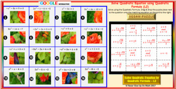 Jigsaw Puzzle: Solve by Quadratic Formula L2 (2 Option answers) (Google )