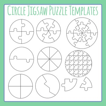 Jigsaw Puzzle Templates - Circles - Commercial Use Clip Art Pack