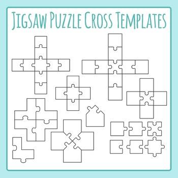 Jigsaw Puzzle Templates - Crosses, Xs, Pluses - Commercial Use Clip Art Set