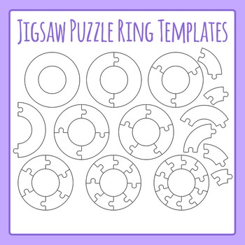 jigsaw puzzle templates rings circles commercial use clip art set